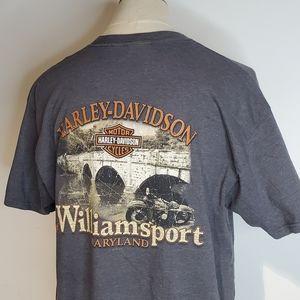 Harley Davidson Gray Pocket Graphic T Shirt Willia